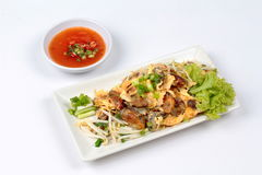 """Fried oyster with bean sprouts and shallot as """"Hoi Tod"""" in Thai . Top View. Fried oyster with bean sprouts and shallot as """"Hoi Tod"""" in Thai served with Stock Photos"""