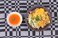 Fried oyster omelet with herb call Hoi Tod Khai. Stock Images
