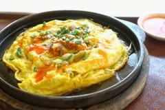 Fried Oyster Omelette Recipe Lizenzfreie Stockbilder