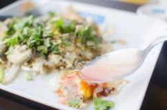Fried Oyster, Oyster omelet, Oyster omelet fire with egg, Thai food.  Royalty Free Stock Photos