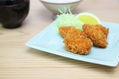 Fried oysters on a dish Royalty Free Stock Images