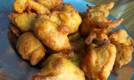 Fried Pakora. Close up click of Indian tasty and salty snack pakora in a plate royalty free stock photography