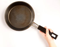 Fried pan. Child hand with a fried pan Stock Photos