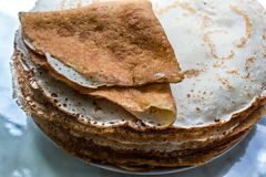 Fried pancakes. Close up. Copy space. royalty free stock photos