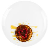 Fried pancakes with cranberry heart shaped with honey on a plate Royalty Free Stock Photos