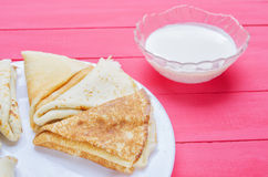 Fried pancakes on a plate Royalty Free Stock Image