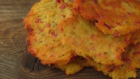 Fried pancakes with potato stock footage