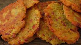 Fried pancakes with potato stock video footage