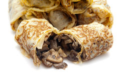 Fried pancakes stuffed with Royalty Free Stock Images