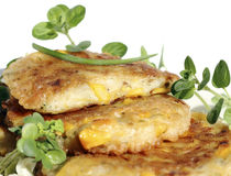 Fried pancakes with sweet corn Stock Images