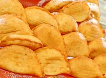 Fried PANZEROTTI  and bread Royalty Free Stock Images