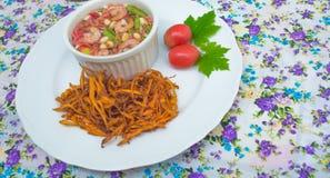 Fried papaya salad. On background Stock Images