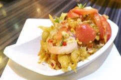 Fried Papaya Salad with shrimp Royalty Free Stock Image