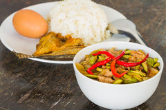 Fried Parkia with rice thai food Stock Photo