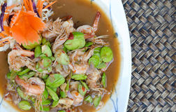 Fried Parkia with shrimp and source. Stock Images