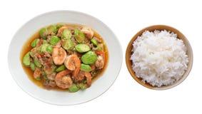 Fried Parkia wth shrimp and rice Stock Photo