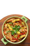Fried pasta with pork ham Royalty Free Stock Photos