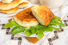 Fried patties with curd cheese Stock Images