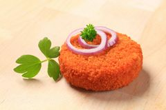 Fried patty. Fried cheese, minced meat or vegetable patty Royalty Free Stock Image