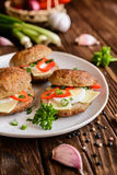 Fried patty filled with cheese, egg, bell pepper and scallion Royalty Free Stock Image