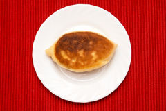 Fried patty on a plate. One fresh fried patty on white plate and red mat Stock Photos