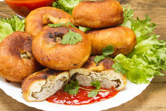 Fried patty on a plate with greens and ketchup. Fried patty of dough and meat on a plate with greens and ketchup Stock Photo
