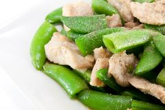Fried pea and pork thai style Royalty Free Stock Image