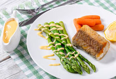 Fried a piece of hake fish served with asparagus, piece of lemon Royalty Free Stock Photography