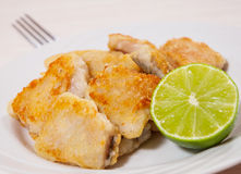 Fried pieces of fish fillets Royalty Free Stock Images