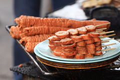 Fried pig intestine. It is one of  popular snack in chinese, called fried pig intestine Stock Photos