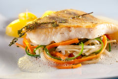 Fried Pike Perch Fillet With Vegetables. Royalty Free Stock Photo