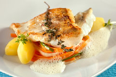 Fried Pike Perch Fillet With Vegetables. Royalty Free Stock Image