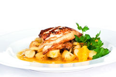 Fried plaice. With potato on a plate royalty free stock image