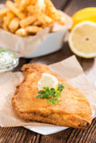 Fried Plaice with Chips Stock Images