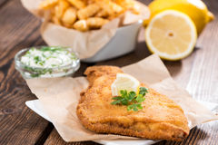 Fried Plaice with Chips Royalty Free Stock Images