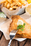 Fried Plaice with Chips Stock Image