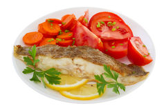 Fried plaice with lemon Royalty Free Stock Photography