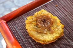 Fried plantain tostones (patacones) Stock Image