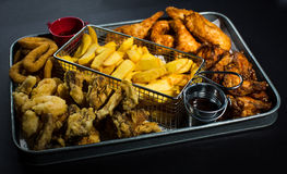 Fried Platter. For 4 people Stock Photo