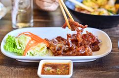 Fried poke with spicy sauce. Fried poke is the thai menu very Royalty Free Stock Photography