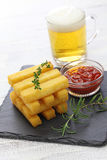 Fried polenta with dipping sauce Royalty Free Stock Image