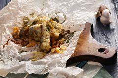Fried pollock fish Stock Photos