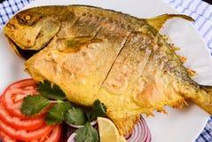 Fried Pomfret Fish Royaltyfria Foton