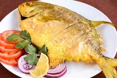 Fried Pomfret Fish Royaltyfria Bilder