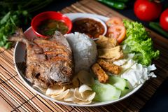Fried pomfret fish and rice stock images