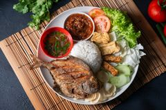 Fried pomfret fish and rice royalty free stock image