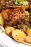 Fried pork on baldribs Royalty Free Stock Photo