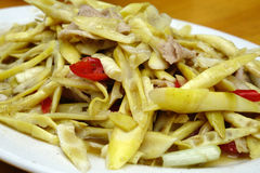 Fried pork with Bamboo shoots Stock Photos