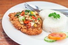 Fried pork with basil on jasmine rice Stock Image