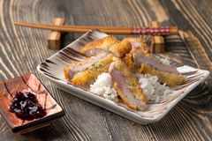 Fried pork in batter with rice Royalty Free Stock Photo